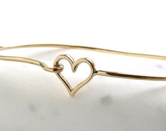 Love Gift • Heart Bangle Bracelet • Open Heart Bracelet • Heart and Hook Eye Bracelet • Stacking Bracelet • Love Bangle