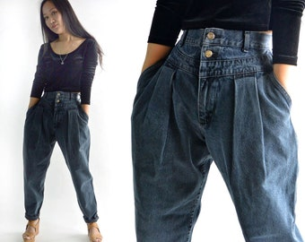 80s High Waisted Jeans LEE Jeans Unique Yoke Front Harem Jeans Womens Jeans Dark Wash Jeans Tapered Legs Jeans 1980s Mom Jeans 27 Waist