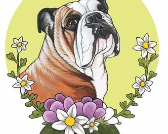 Acryl Bulldog-Zeichnung auf Papier, A4-Format (8,3 x 11,7 Zoll), gerahmt