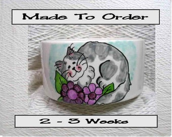 Cat In Purple Flowers Pet Bowl With Paw Prints Inside Medium Handmade 20 Oz. Ceramic GMS