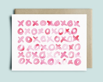XOXO Greeting Card | Valentine's Day Card | Love Card | Birthday Card | Watercolor Card