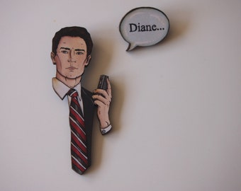 Twin Peaks Dale Cooper - Diane - 2 Part Laser Cut Wood Brooches
