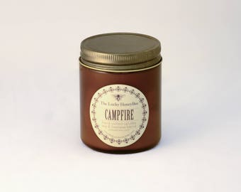 Campfire Candle || 8.5 oz Scented Candle || Soy + Beeswax Blend Candle in Amber Jar