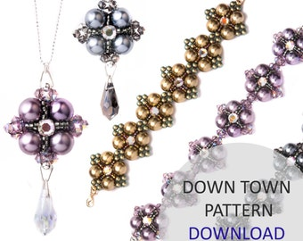 Jewellery Pattern Download / Kleshna Down Town Seed Bead & Pearl Necklace and Bracelet Project Download