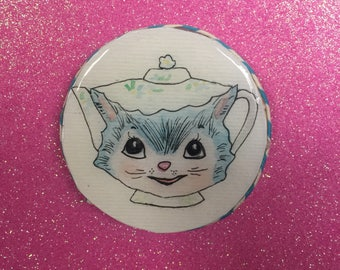 Handmade Kitsch Magnet Miss Priss Vintage Kitty Teapot Blue Cute Girly Kitchen Collectible Gift Fridge Hand Painted