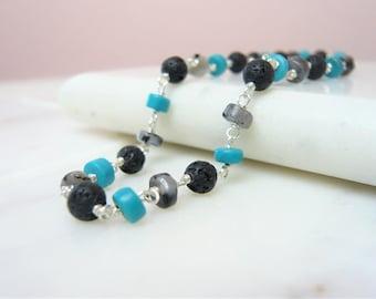 Turquoise Larvikite And Lava Stone Bracelet