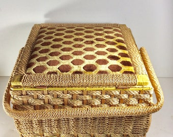 Vintage Penneys made in Japan wicker sewing basket.