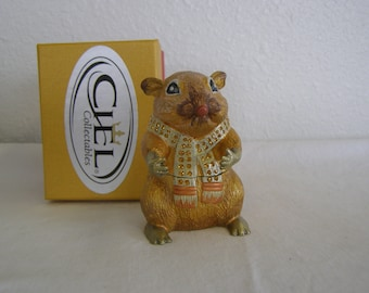 Ciel Collectible Trinket Mouse with Jeweled Scarf in Original Box