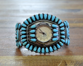 Vintage Navajo Turquoise Cluster Sterling Silver Watch Cuff Bracelet