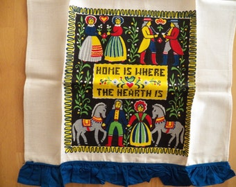 """Charming UNUSED Vintage 1950's Linen Towel """"Home is Where the Hearth Is"""""""