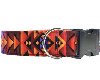 Tribal Dog Collar, Wide Dog Collar, 1.5 Inch Dog Collar, Aztec Dog Collar, Southwest Dog Collar, Fabric Dog Collar, Turquoise  and Copper