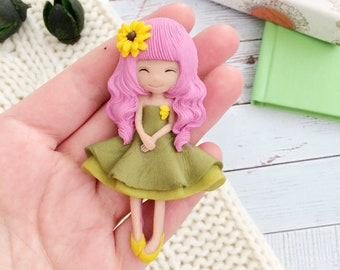 Doll brooch Anime girl Handmade Polymer clay Green doll dress Art doll Japanese style Pink hair Sunflower Large brooch Jewelry Spring