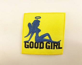 """Good Girl Angel Patch Embroidered 2.5"""" X 2.5"""" inches Biker Vest Jacket Motorcycle Iron on Sew on Mud Flap Girl"""