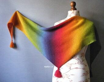 Rainbow shawl, knit triangle scarf, women's wool minishawl, shawl with tassels, wool pareo, knit wrap, hand knitted baktus, natural