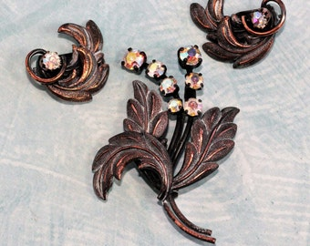 Vintage Bronze Brooch and Clip Earring Set