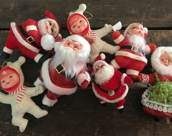 Vintage flocked Christmas ornaments ~ vintage santa & Ms Clause