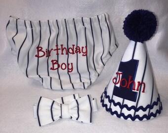 Boys Cake Smash Outfit - Baseball Stripe Navy - Diaper Cover, Bow Tie & Birthday Hat - Birthday Set