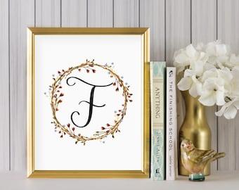 Instant Download - Wreath Initial Print - Monogram letter F print - Letter Print - Letter F printable - Floral Monogram - Initial Print