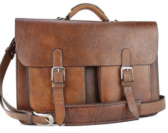 "15"" Leather Messenger Leather Bag  Leather Briefcase Leather Laptop Satchel for Macbook Pro 201"