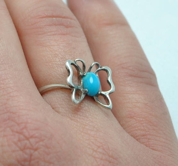 Butterfly ring, turquoise ring, animal ring, silver ring, girl ring, children ring, navajo ring, turquoise jewelry, animal jewelry