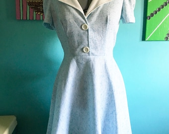 Vintage Light Blue Polyester Dress Size Small/Medium