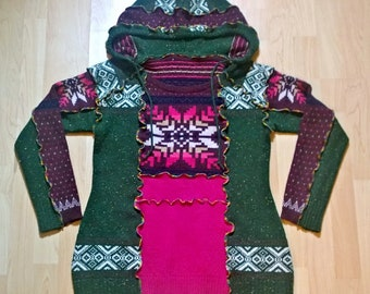 UpcycledClothing/Pullover/Sweater/Hoody/Tunic/Festival Clothing/Funky Clothing/Boho Clothing/Unique Clothing/Hippie Style/Knitwear/ForWomen