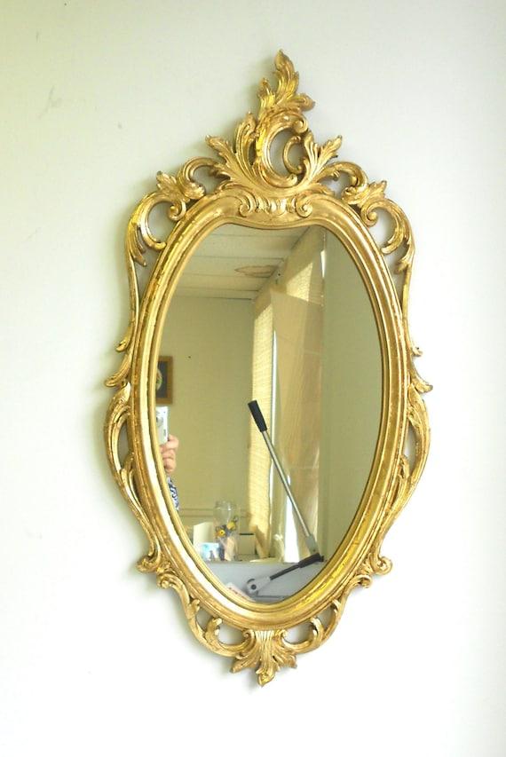 Oval Mirror Syroco Mirror Vintage Mirror Oval Wall Mirror Gold