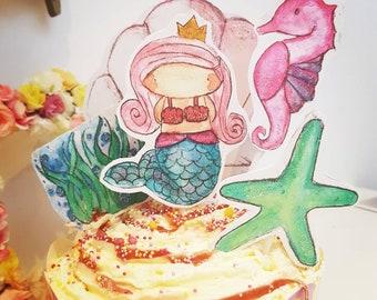 Mermaid birthday party cake topper set