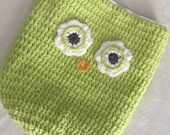 Lime Green Oversized Owl Pillow, Crochet Owl Pillow, Owl Storage Bag, ready to ship