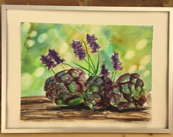 Original watercolor artichokes and lavender stilllife painting