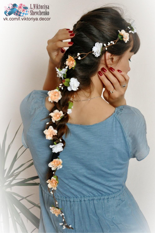 Flower hair garland bridal flower crown wedding hair flowers zoom izmirmasajfo Image collections