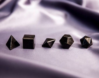 Shungite Platonic Solids Small Set/ Shungite Sacred Geometry
