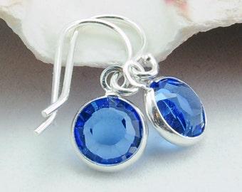Custom Birthstone Earrings - September Birthstone Earrings - Sapphire Blue - Personalized Gift - Sterling Silver Jewelry Swarovksi Crystal