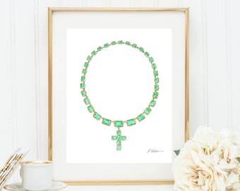 Georgian Necklace Watercolor Rendering in Yellow Gold with Green Paste Stones printed on Paper