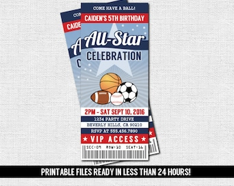 SPORTS TICKET INVITATION All Star Birthday Party - Any Age (print your own) Printable Files - Football Basketball Soccer Baseball