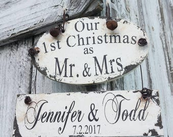 Personalized MR and MRS Christmas ORNAMENT | Our First Christmas Ornament | Just Married Christmas Ornament | Wedding Ornament | Wedding