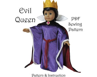 Snow White Evil Queen American Girl Doll Clothes Pattern 18 inch Doll pattern PDF