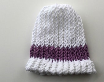 Organic Cotton White Hat with Lilac Stripe - Hand knit