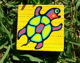 mini painting  4 x 4 canvas Turtle