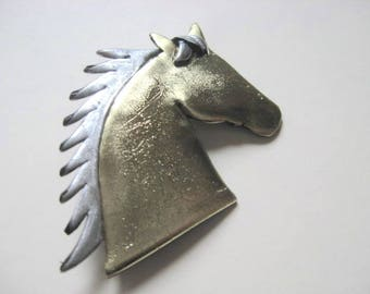 Horse brooch pin silhouette in gold and silver acrylic