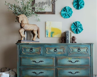 Blue Dresser, French Provincial Dresser, Vintage Dresser, Buffet, Painted Furniture, Hand Painted, Distressed Furniture