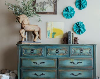 Amazing Blue Dresser, French Provincial Dresser, Vintage Dresser, Buffet, Painted  Furniture, Hand