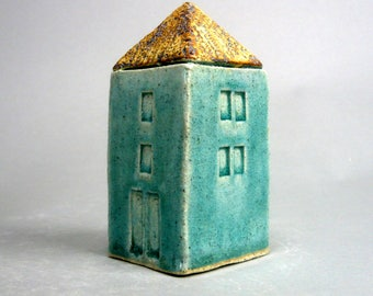 Miniature Home , Turquoise House  , Townhouse , Small Square Home
