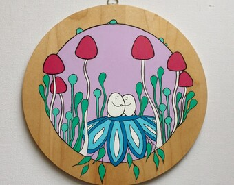Cheps in Their Round Mushroom Forest - Original Acrylic Painting on Wood