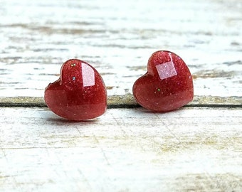 Heart Studs Heart Gifts Valentines Earrings Valentine Gift Resin Jewelry Womens Gift Tiny Glitter Studs Top Selling Items Wedding Gifts