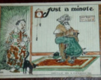vintage POSTCARDS ... JUST a MINUTE  not stamped 1910 ...