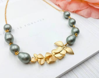 Orchid Pearl Necklace, Matte Gold Sage Green Orchid Flower Swarovski Teardrop Pearl Necklace, Wedding Bridal Bridesmaid Gift for Her