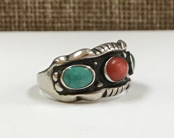 Vintage Native American J. F. Sterling Silver Turquoise And Coral Ring!! Size 7