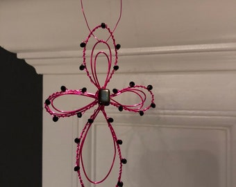 Pink wire beaded cross ornament