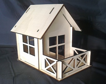Wooden Small Dollhouse Plywood Kit